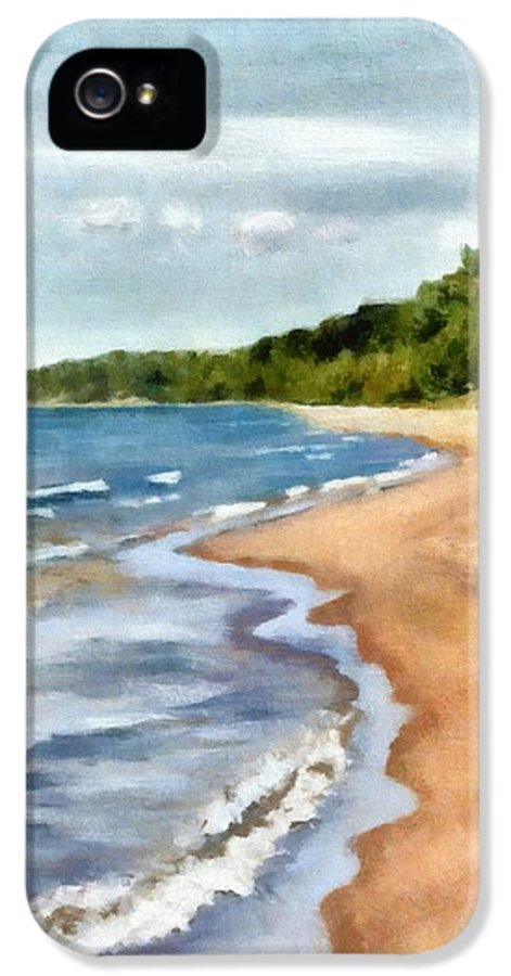 Beach IPhone 5 / 5s Case featuring the painting Peaceful Beach At Pier Cove Ll by Michelle Calkins