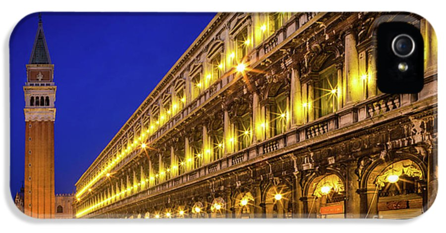 Europe IPhone 5 / 5s Case featuring the photograph Piazza San Marco By Night by Inge Johnsson