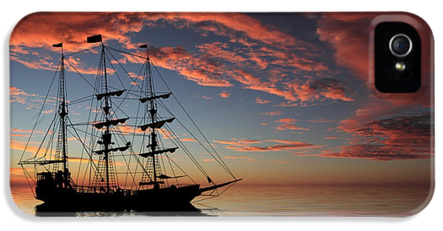 Pirate Ship IPhone 5 / 5s Case featuring the photograph Pirate Ship At Sunset by Shane Bechler