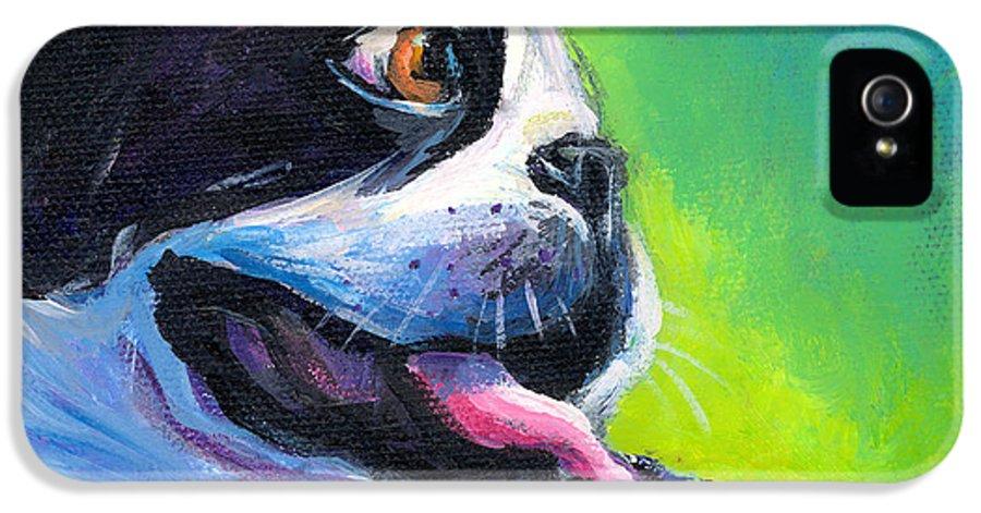 Boston Terrier Painting IPhone 5 / 5s Case featuring the painting Playful Boston Terrier by Svetlana Novikova