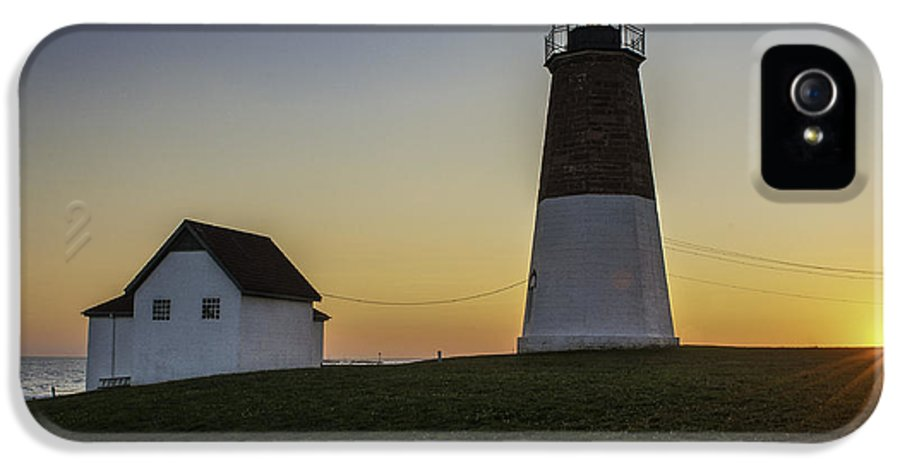 Lighthouse Art IPhone 5 / 5s Case featuring the photograph Point Judith Light At Sunset by Thomas Schoeller