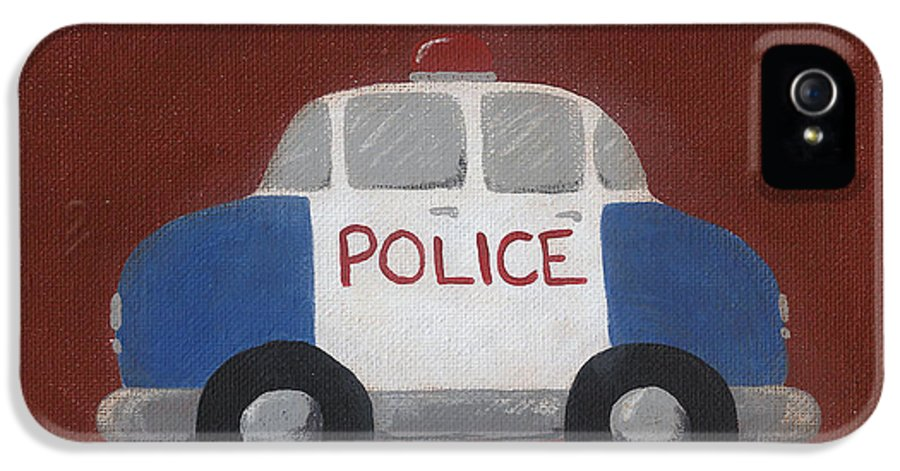 Police Car IPhone 5 / 5s Case featuring the painting Police Car Nursery Art by Katie Carlsruh