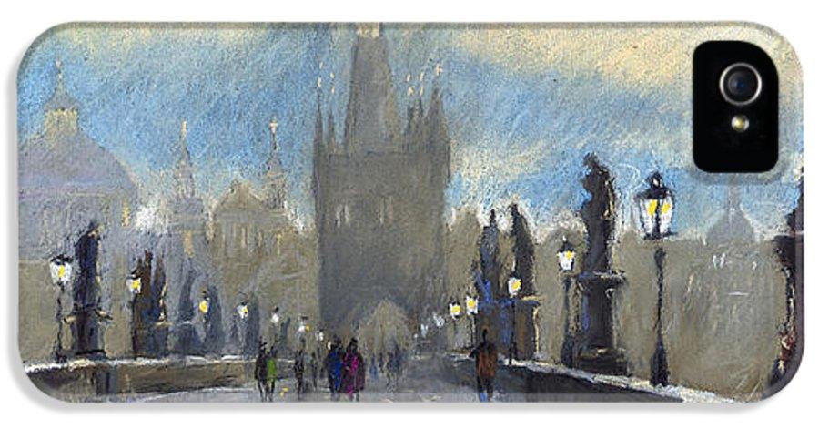 Pastel IPhone 5 / 5s Case featuring the pastel Prague Charles Bridge 06 by Yuriy Shevchuk