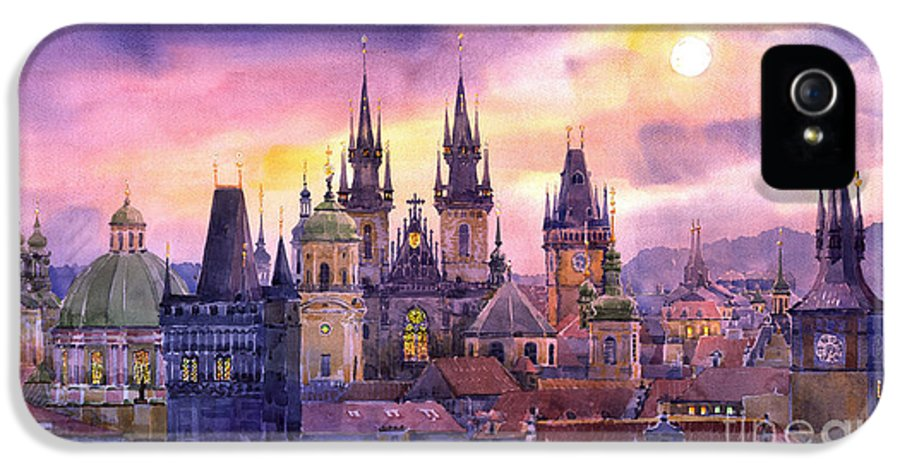 Architecture IPhone 5 / 5s Case featuring the painting Prague City Of Hundres Spiers Variant by Yuriy Shevchuk
