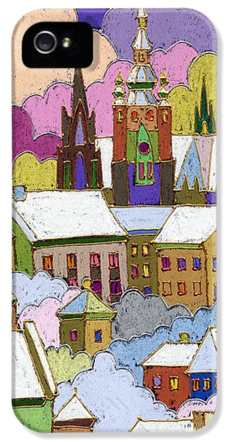 Pastel IPhone 5 / 5s Case featuring the painting Prague Old Roofs Prague Castle Winter by Yuriy Shevchuk