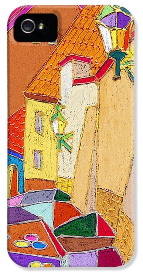 Pastel IPhone 5 / 5s Case featuring the painting Prague Old Street Ceminska Novy Svet by Yuriy Shevchuk