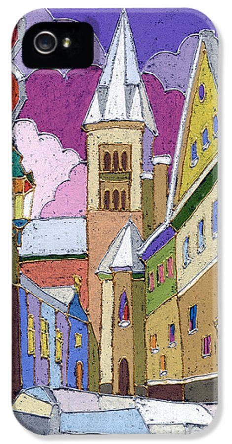 Pastel IPhone 5 / 5s Case featuring the painting Prague Old Street Jilska Winter by Yuriy Shevchuk