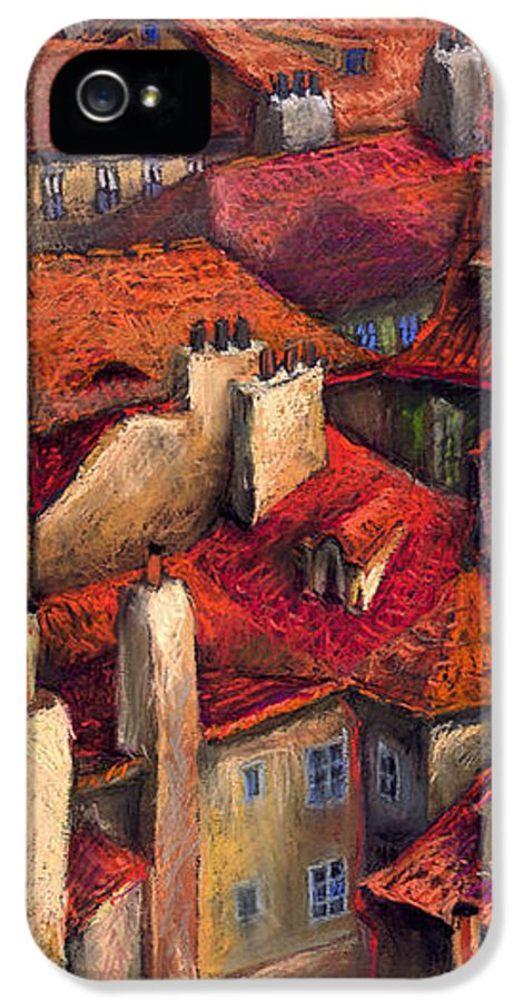 Prague IPhone 5 / 5s Case featuring the painting Prague Roofs by Yuriy Shevchuk