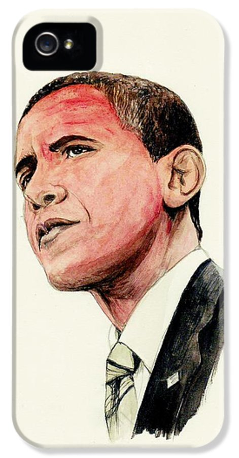 President IPhone 5 / 5s Case featuring the painting President Barak Obama by Morgan Fitzsimons