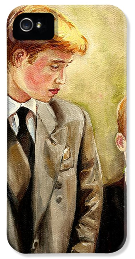 Prince William And Prince Harry IPhone 5 / 5s Case featuring the painting Prince William And Prince Harry by Carole Spandau