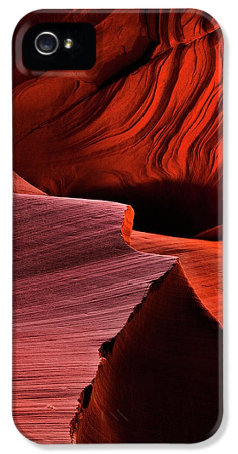 Antelope Canyon IPhone 5 / 5s Case featuring the photograph Red Rock Inferno by Mike Dawson