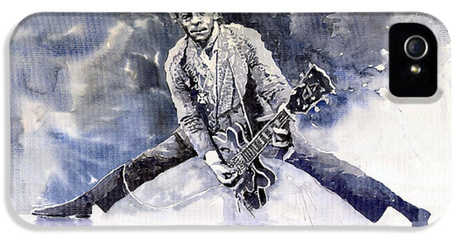 Watercolour IPhone 5 / 5s Case featuring the painting Rock And Roll Music Chuk Berry by Yuriy Shevchuk