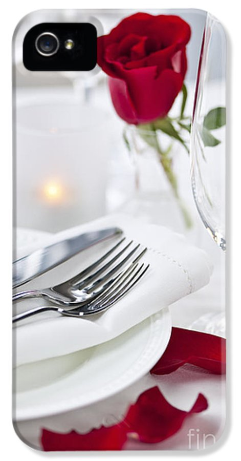 Romantic IPhone 5 / 5s Case featuring the photograph Romantic Dinner Setting With Rose Petals by Elena Elisseeva