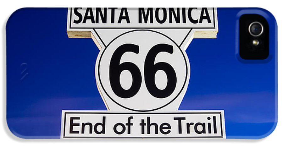 California IPhone 5 / 5s Case featuring the photograph Santa Monica Route 66 Sign by Paul Velgos