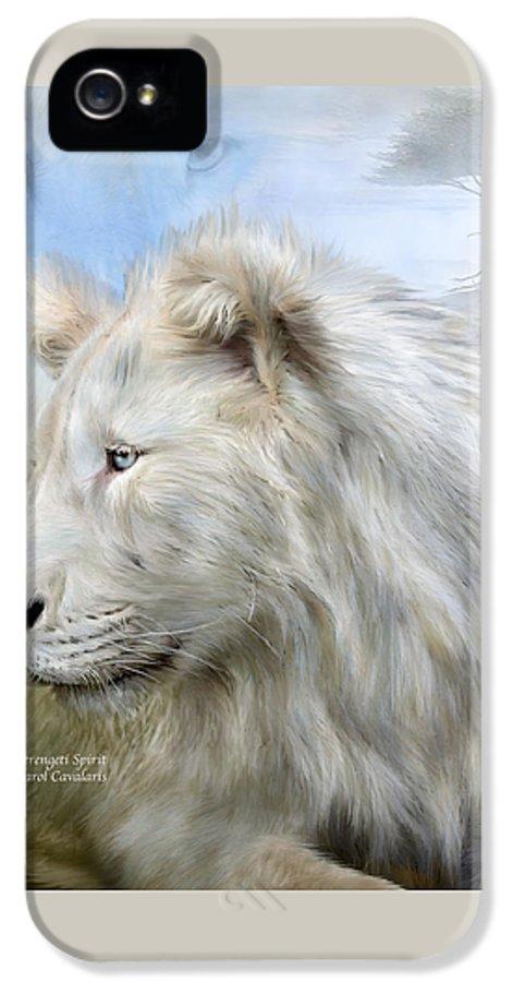 White Lion IPhone 5 / 5s Case featuring the mixed media Serengeti Spirit by Carol Cavalaris