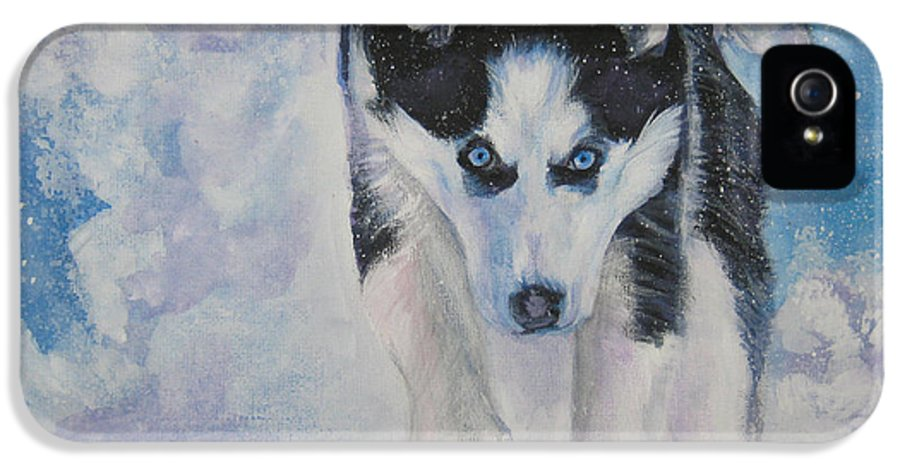 Siberian Husky IPhone 5 / 5s Case featuring the painting Siberian Husky Run by Lee Ann Shepard