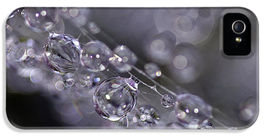 Macro IPhone 5 / 5s Case featuring the photograph Silver Baubles by Rebecca Cozart