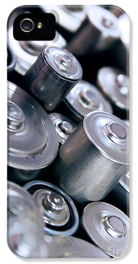 Abstract IPhone 5 / 5s Case featuring the photograph Stack Of Batteries by Carlos Caetano