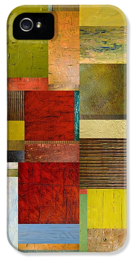 Textural IPhone 5 / 5s Case featuring the painting Strips And Pieces L by Michelle Calkins