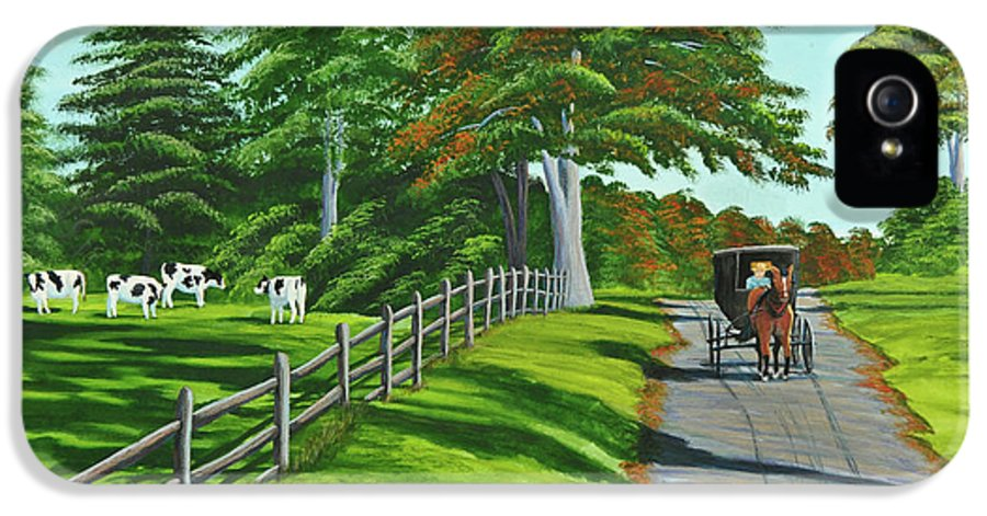 Cows IPhone 5 / 5s Case featuring the painting Sunday Drive by Charlotte Blanchard