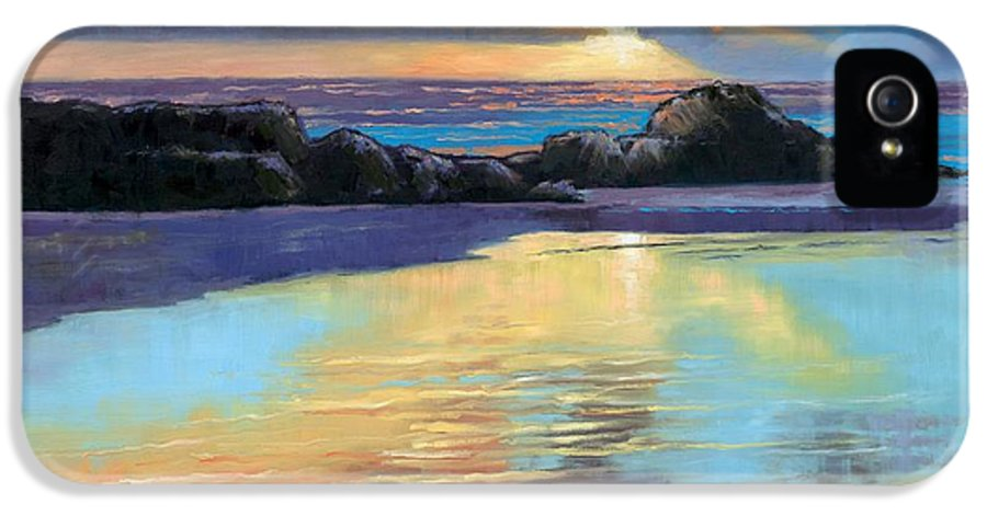 Beach IPhone 5 / 5s Case featuring the painting Sunset At Havika Beach by Janet King