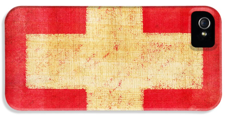 Abstract IPhone 5 / 5s Case featuring the photograph Switzerland Flag by Setsiri Silapasuwanchai