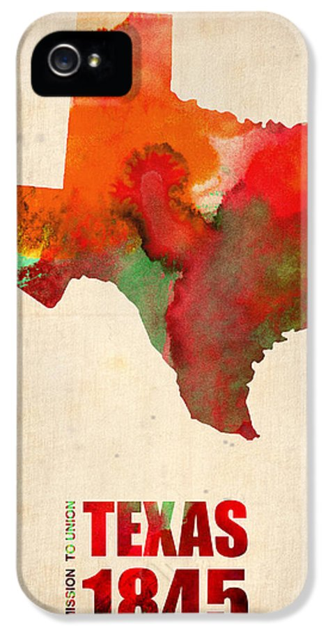 Texas IPhone 5 / 5s Case featuring the digital art Texas Watercolor Map by Naxart Studio