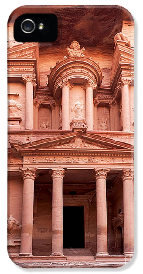 Red IPhone 5 / 5s Case featuring the photograph The Ancient Treasury Petra by Jane Rix