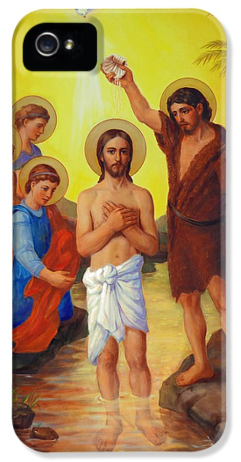 Baptism IPhone 5 / 5s Case featuring the painting The Baptism Of Jesus Christ by Svitozar Nenyuk