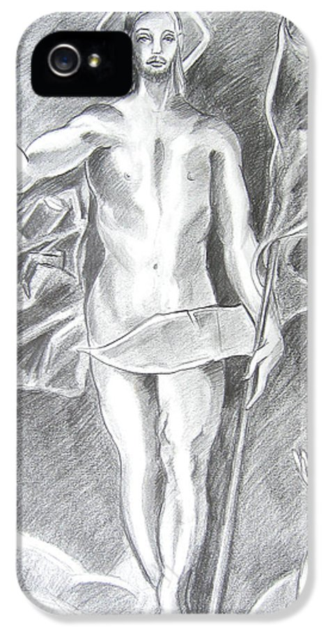 Jesus IPhone 5 / 5s Case featuring the drawing The Resurrection Of Jesus by John Keaton