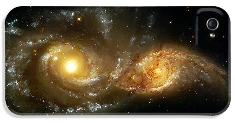 Nebula IPhone 5 / 5s Case featuring the photograph Two Spiral Galaxies by The Vault - Jennifer Rondinelli Reilly