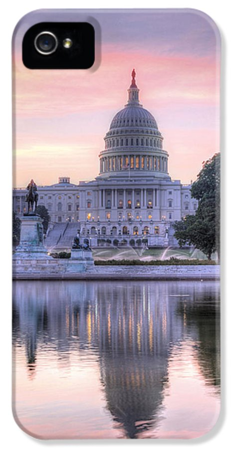 Capital Capitol Congress Senate House Dome Washington Dc Pink Blue Purple Sunrise Us United States Patriotic Fourth Of July 4th Historic Dawn Building Usa IPhone 5 / 5s Case featuring the photograph Usa Today by JC Findley
