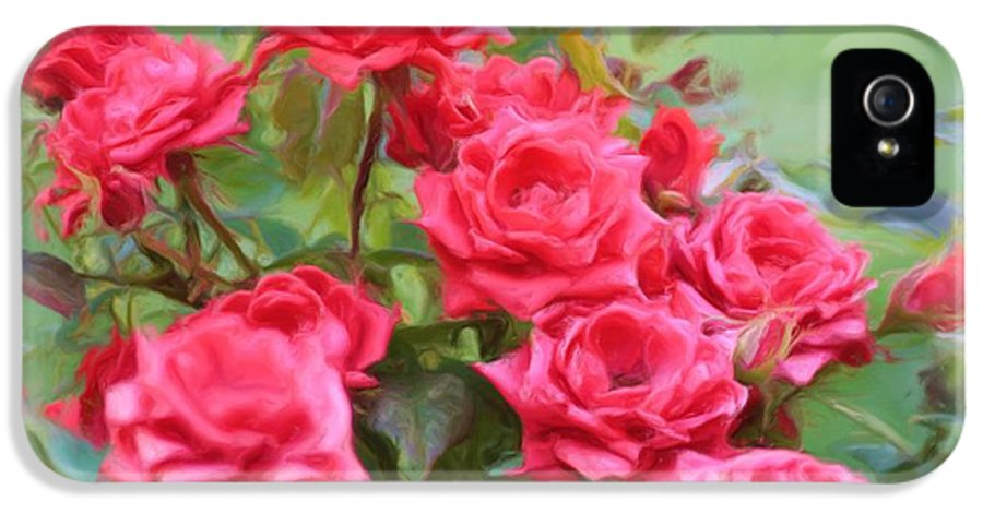 Floral IPhone 5 / 5s Case featuring the photograph Victorian Rose Garden - Digital Painting by Carol Groenen