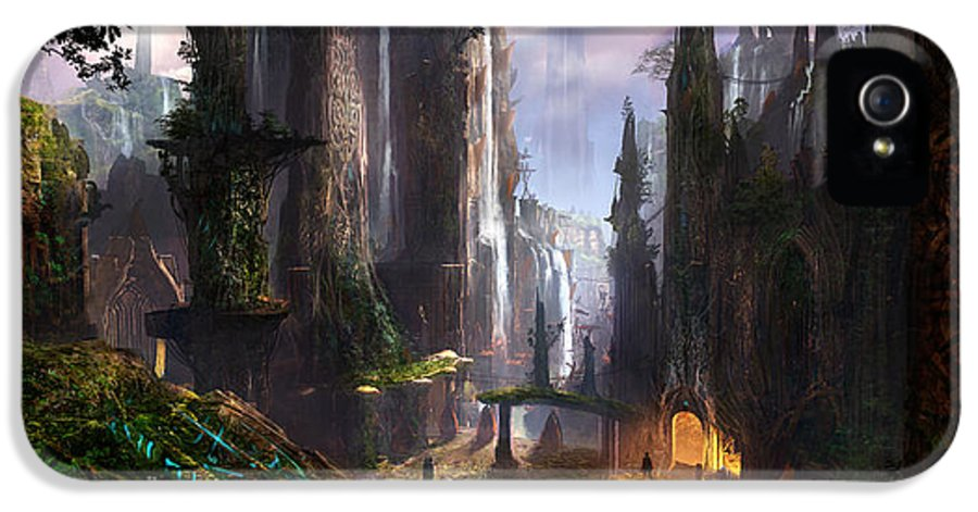 Concept Art IPhone 5 / 5s Case featuring the digital art Waterfall Celtic Ruins by Alex Ruiz