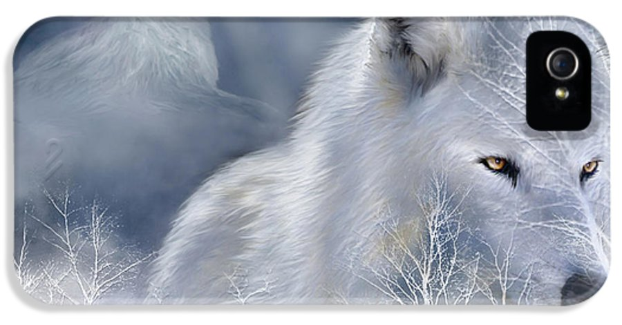 Wolf Art IPhone 5 / 5s Case featuring the mixed media White Wolf by Carol Cavalaris
