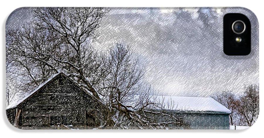 Winter IPhone 5 / 5s Case featuring the photograph Winter Farm by Steve Harrington