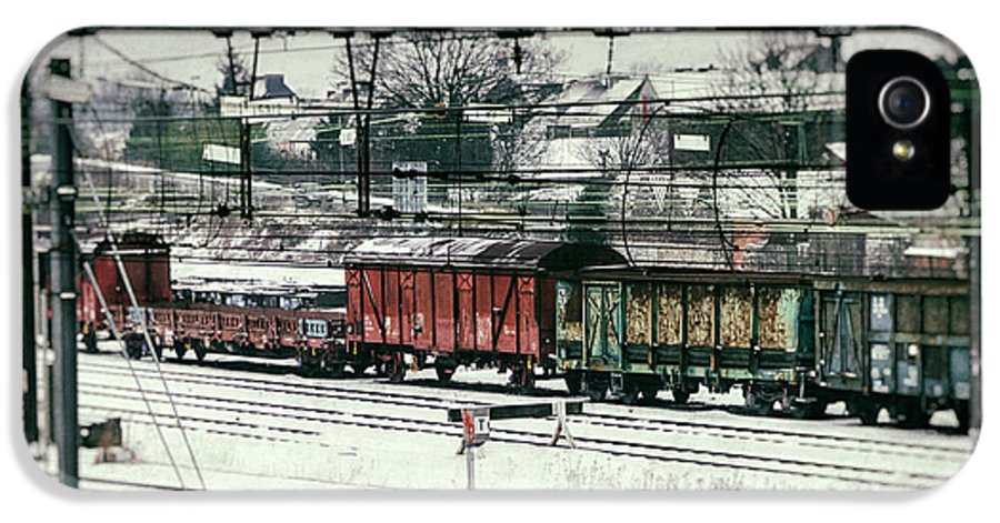 Railroad IPhone 5 / 5s Case featuring the photograph Winter Transport by Wim Lanclus