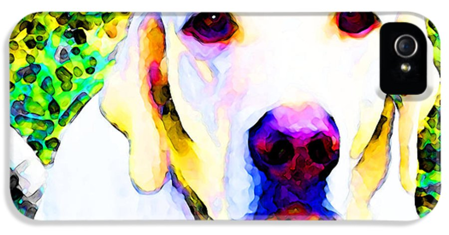 Lab IPhone 5 / 5s Case featuring the painting You Are My World - Yellow Lab Art by Sharon Cummings