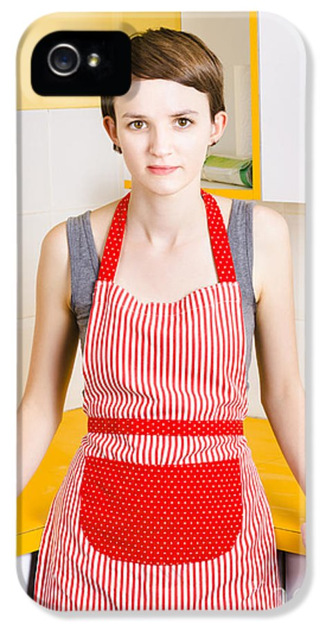 Apron IPhone 5 / 5s Case featuring the photograph Young House Wife On Yellow Kitchen Background by Jorgo Photography - Wall Art Gallery