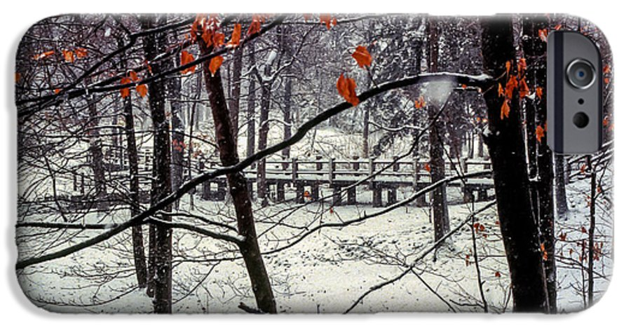 Indiana University Bloomington Bridge Bridges Tree Trees Red Leaves Leaf Snow Landscape Landscapes IPhone 6s Case featuring the photograph Early Snow by Bob Phillips