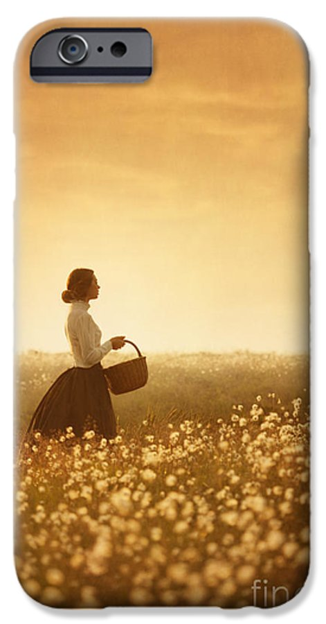 Edwardian IPhone 6s Case featuring the photograph Edwardian Woman In A Meadow At Sunset by Lee Avison