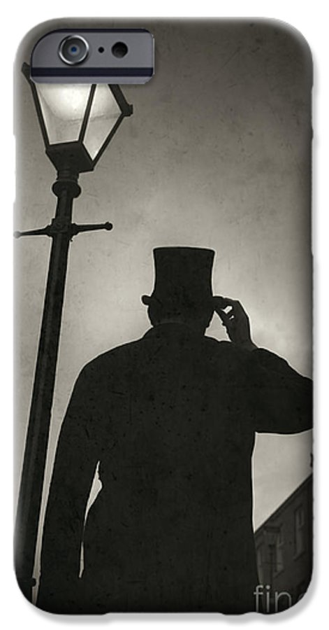 Victorian IPhone 6s Case featuring the photograph Victorian Man With Top Hat Under A Gas Lamp by Lee Avison