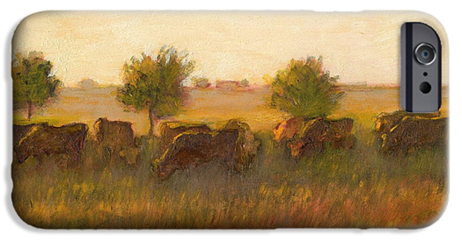 Cows In Landscape IPhone 6s Case featuring the painting Cows1 by J Reifsnyder