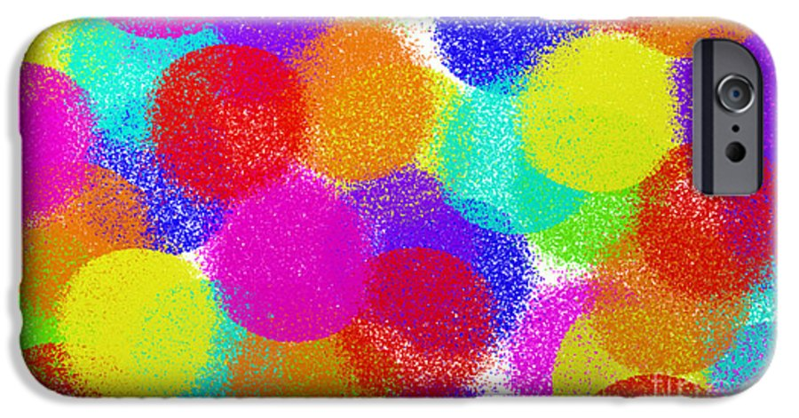 Abstract IPhone 6s Case featuring the digital art Fuzzy Polka Dots by Andee Design