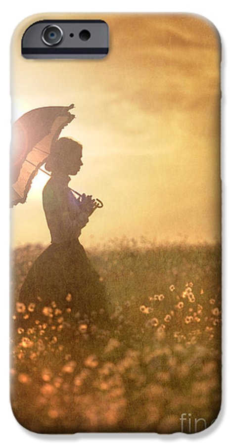 Edwardian IPhone 6s Case featuring the photograph Historical Woman With Parasol In A Meadow At Sunset by Lee Avison