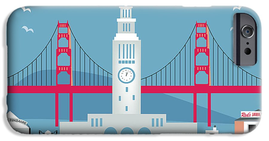 San Francisco IPhone 6s Case featuring the digital art San Francisco Ferry Building by Karen Young