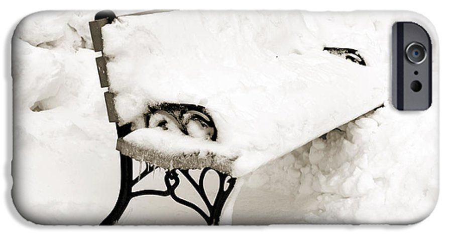 Park Bench In Snow IPhone 6s Case featuring the photograph Take A Seat And Chill Out - Park Bench - Winter - Snow Storm Bw by Andee Design