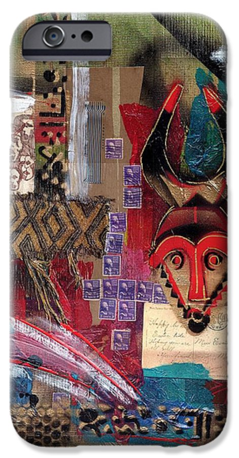 African Mask IPhone 6s Case featuring the painting The Paradox Of Independence by Everett Spruill