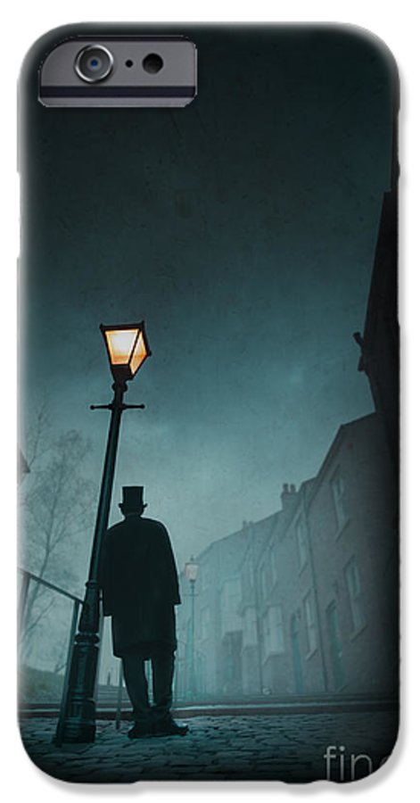 Victorian IPhone 6s Case featuring the photograph Victorian Man With Top Hat Leaning On A Street Light by Lee Avison