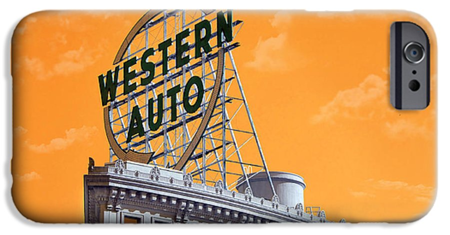 Andee Design Western Auto Sign IPhone 6s Case featuring the photograph Western Auto Sign Artistic Sky by Andee Design